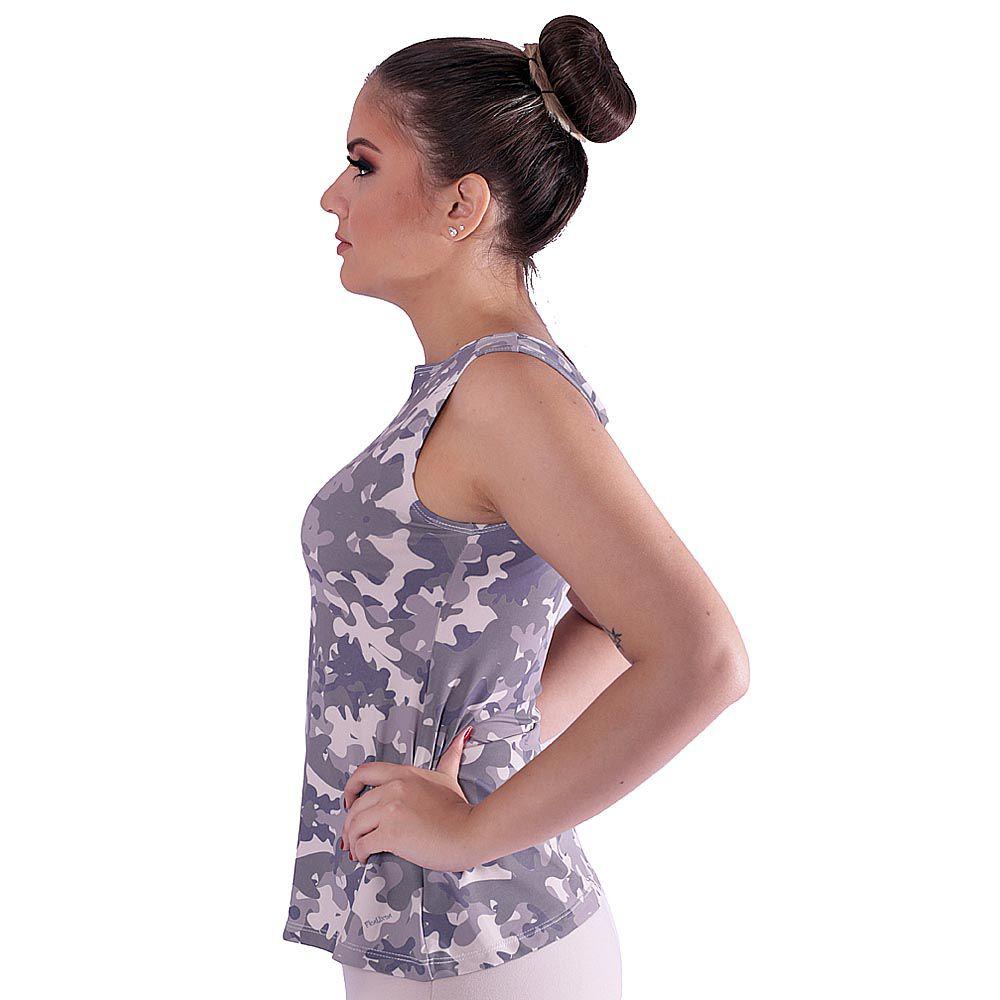 Regata Feminina Estampa Militar Camuflada Exclusiva Decote Canoa Evasê