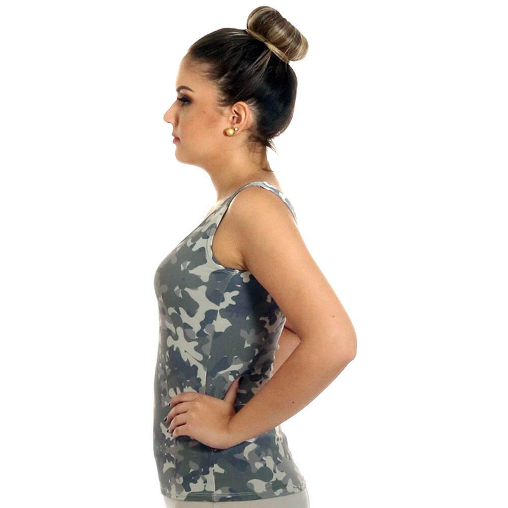 Regata Feminina Estampa Militar Camuflada Exclusiva Decote Redondo