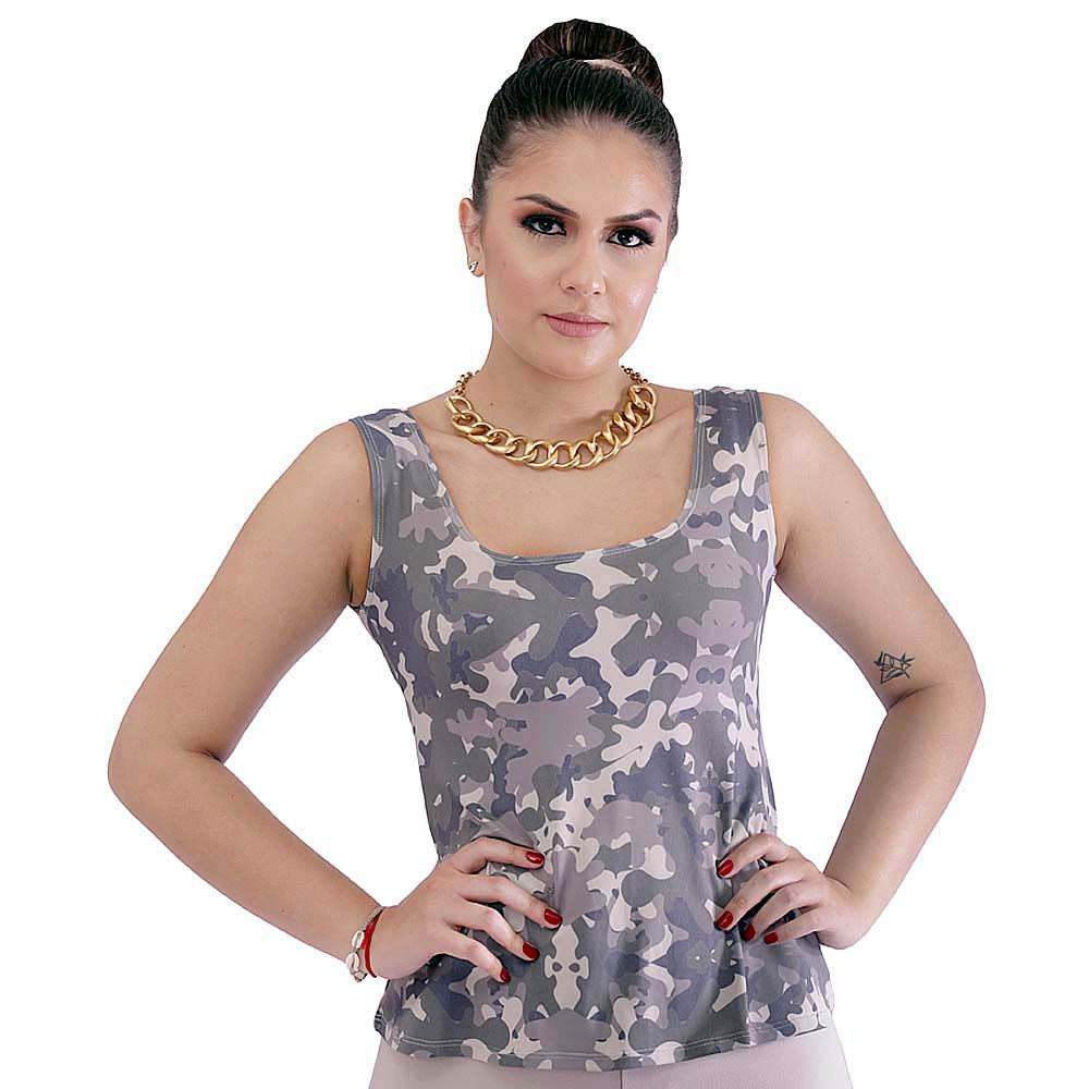 Regata Feminina Estampa Militar Camuflada Exclusiva Decote Redondo Evasê