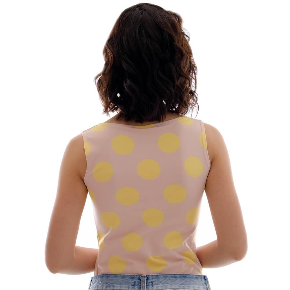 Regata Feminina Juliana de Estampa Exclusiva Nude com Poá de Bolas Amarelas Decote Canoa