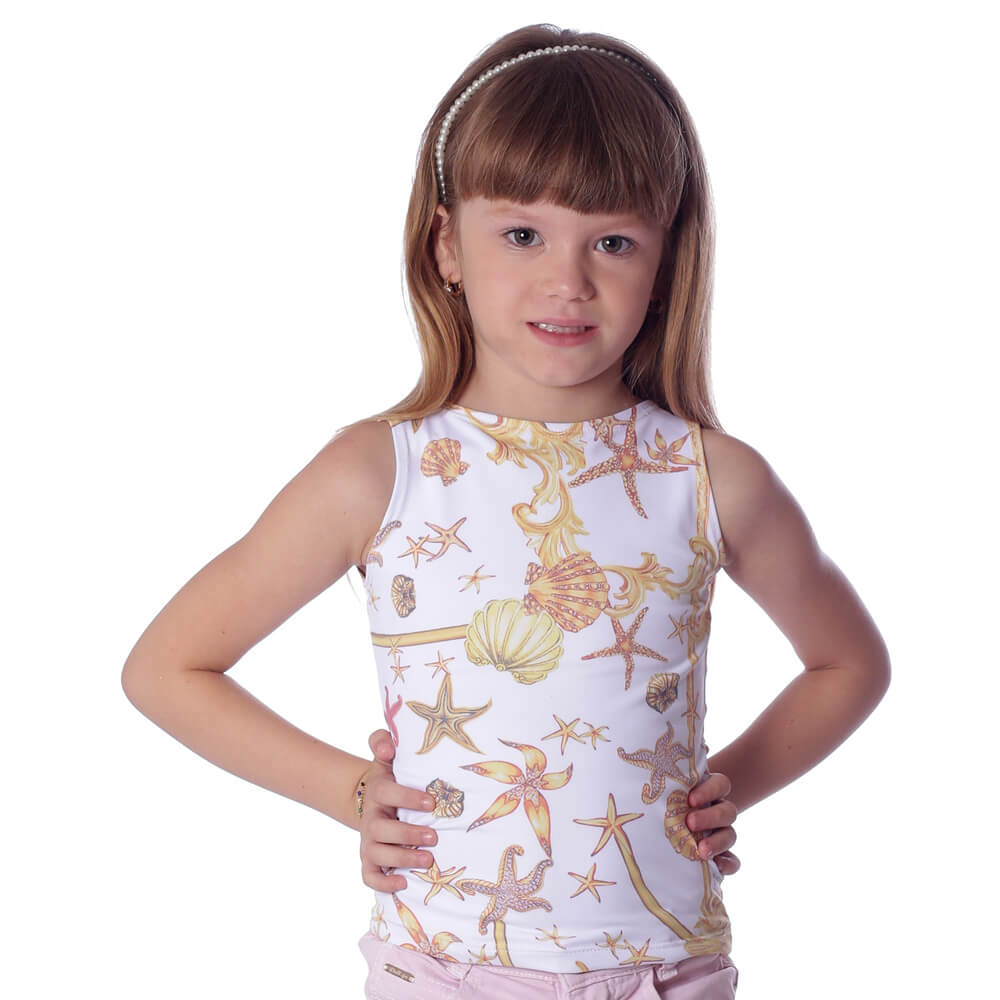 Regata Infantil Feminina Estampa Exclusiva Estrela do Mar Decote Canoa