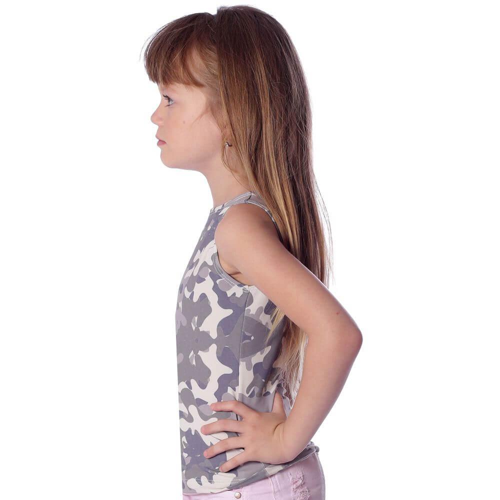 Regata Infantil Feminina Estampa Militar Camuflada Exclusiva Decote Canoa