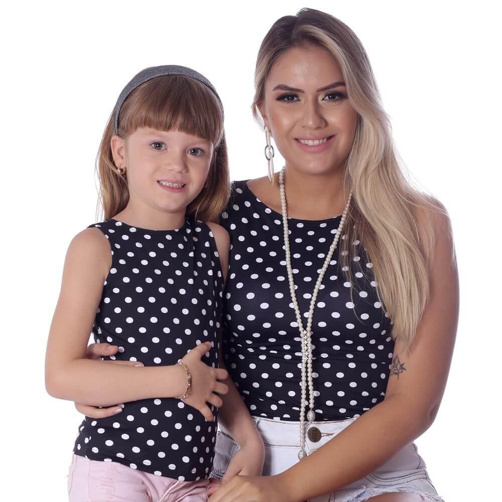Regata Infantil Feminina Poá Preta de Bolas Brancas Decote Canoa