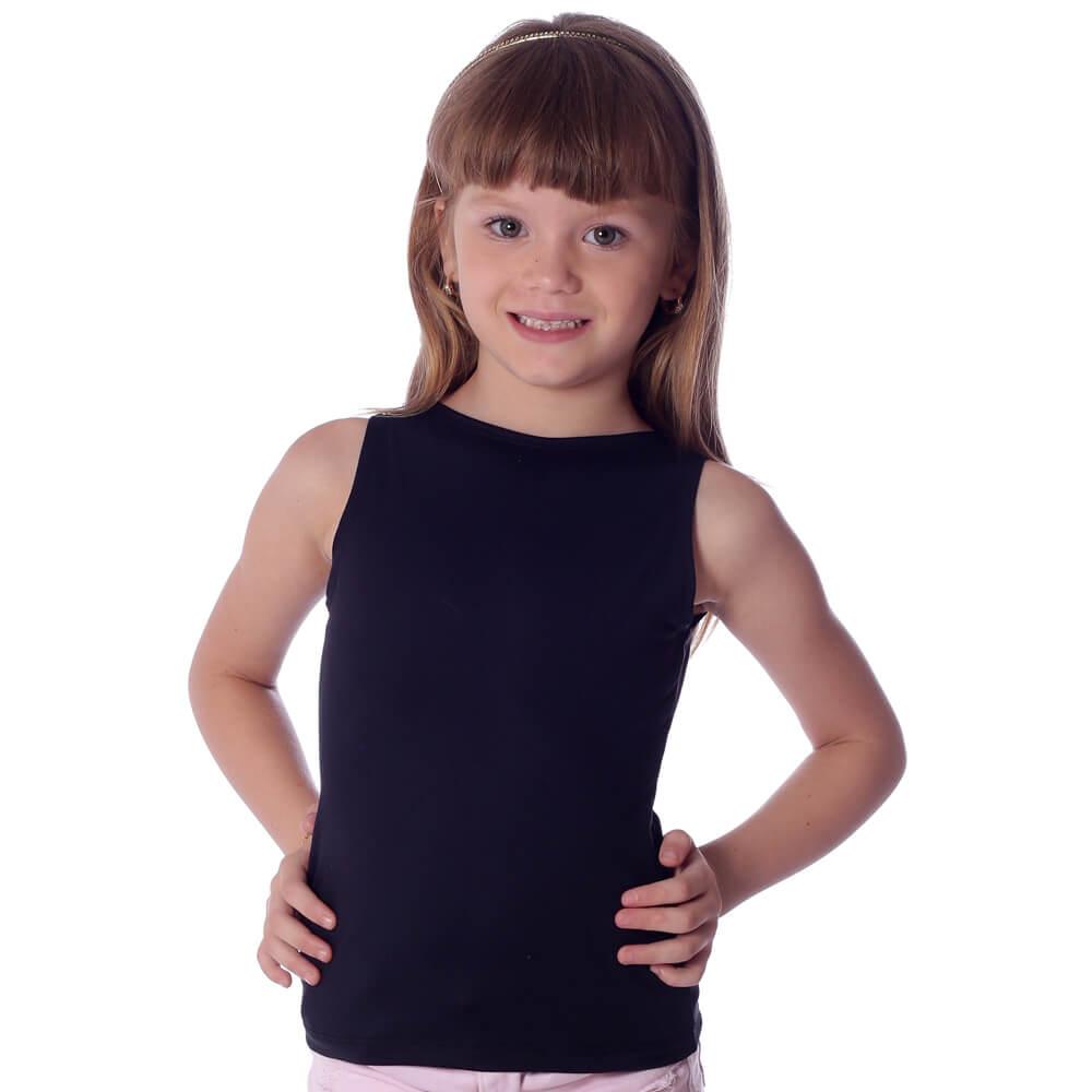 Regata Infantil Feminina Preta Decote Canoa