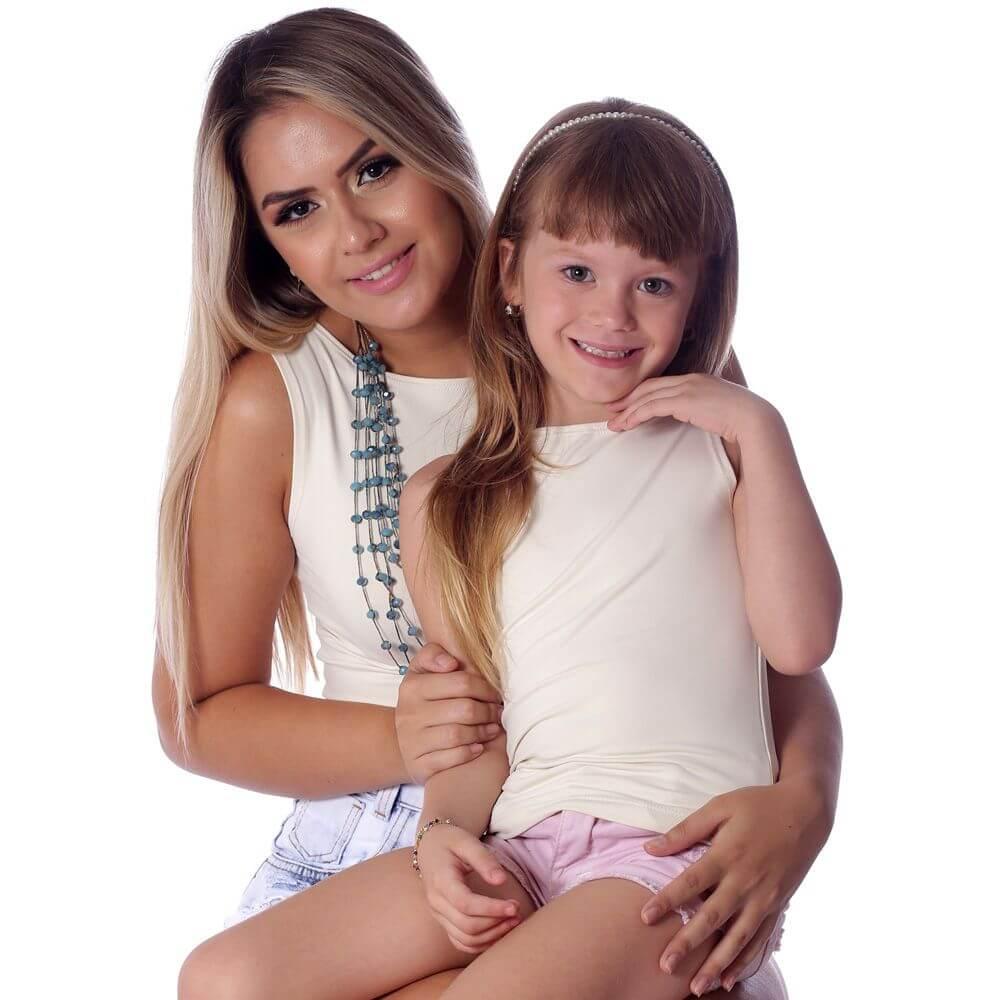 Regata Infantil Palha Feminina Decote Canoa