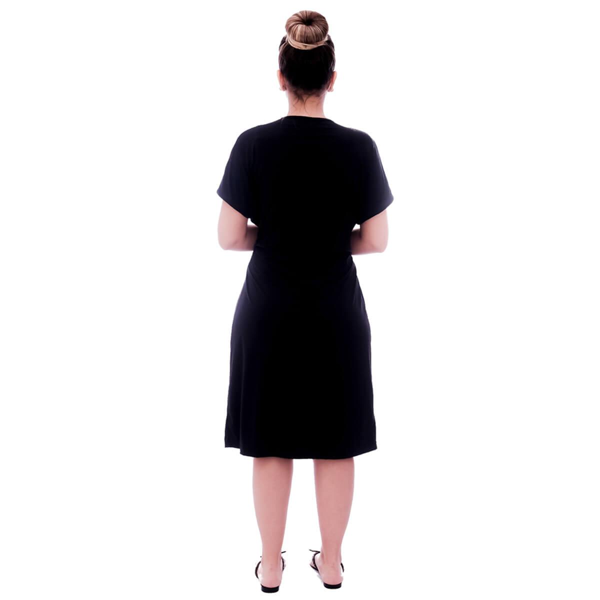 Robe Feminino de Manga Curta Preto com Viés