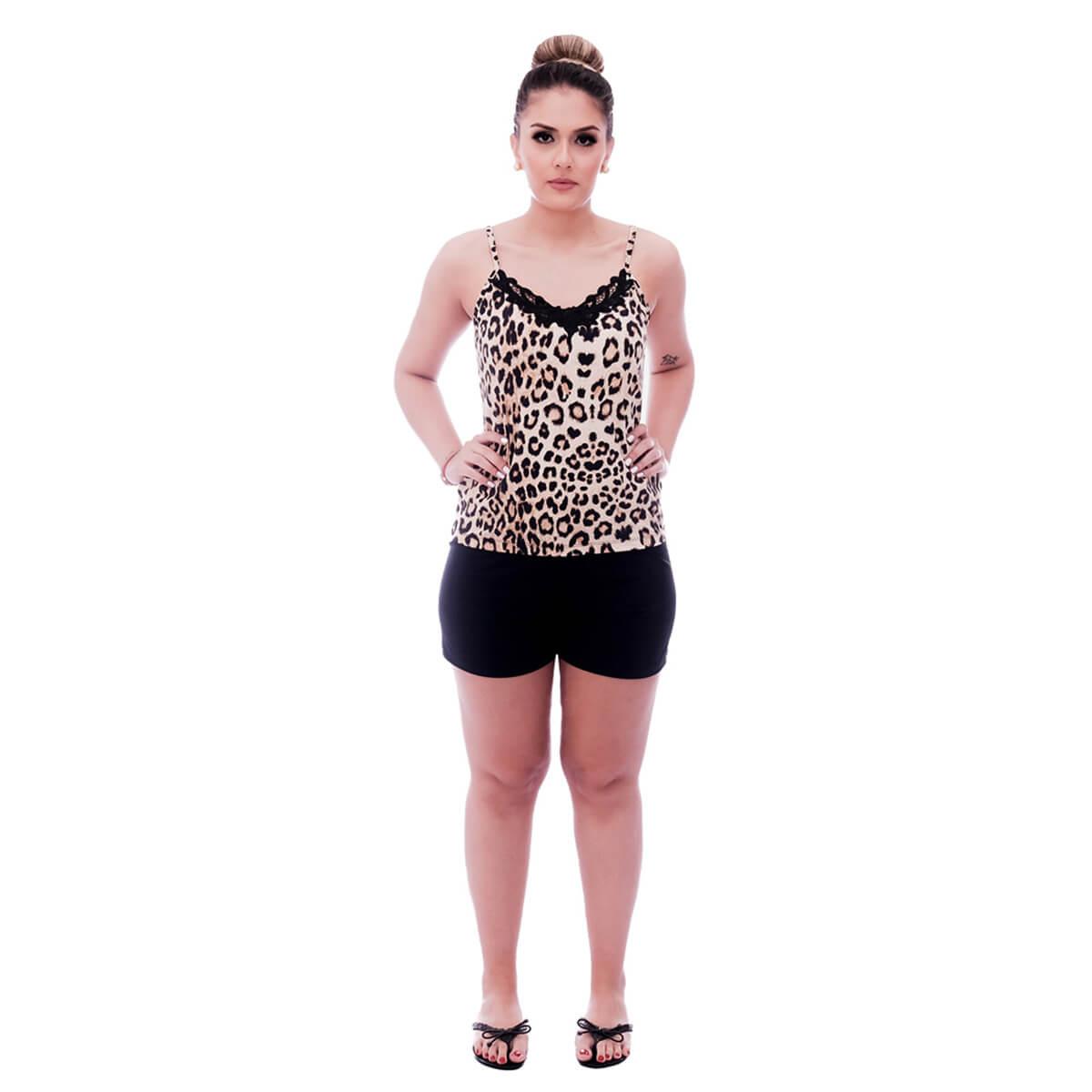 Short Doll de Blusa Alça Fina Estampa Animal Print de Onça com Renda Guipir Preta no Decote e Short Preto