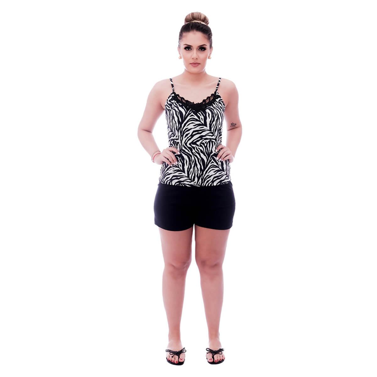 Short Doll de Blusa Alça Fina Estampa Animal Print de Zebra com Renda Guipir Preta no Decote e Short Preto