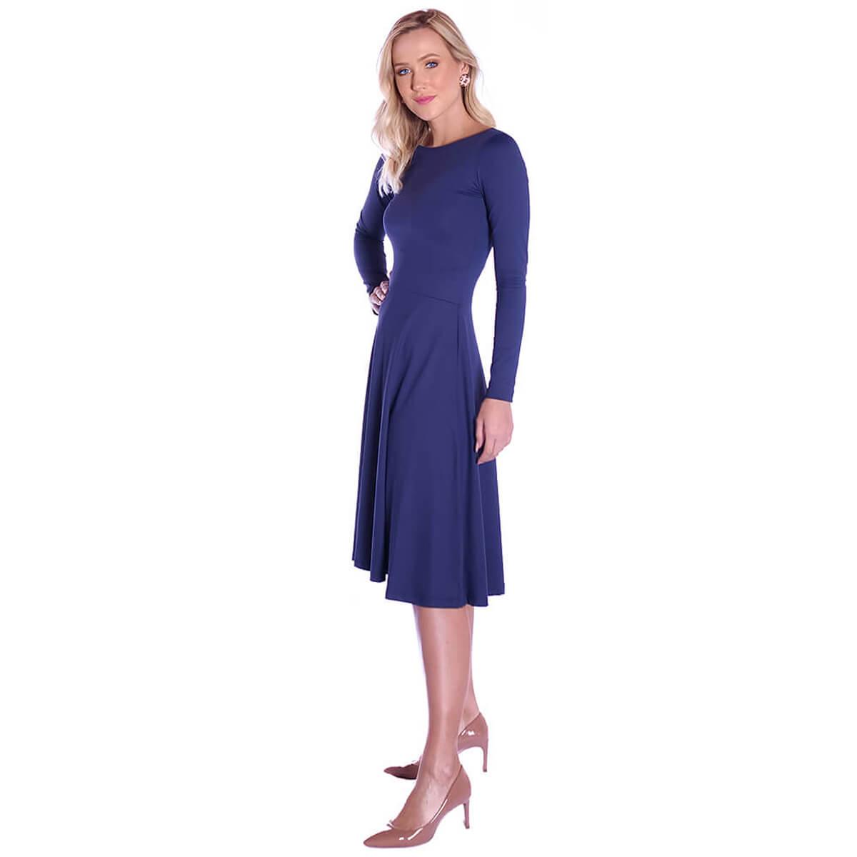 Vestido Azul Marinho FICALINDA Manga Longa Decote Canoa