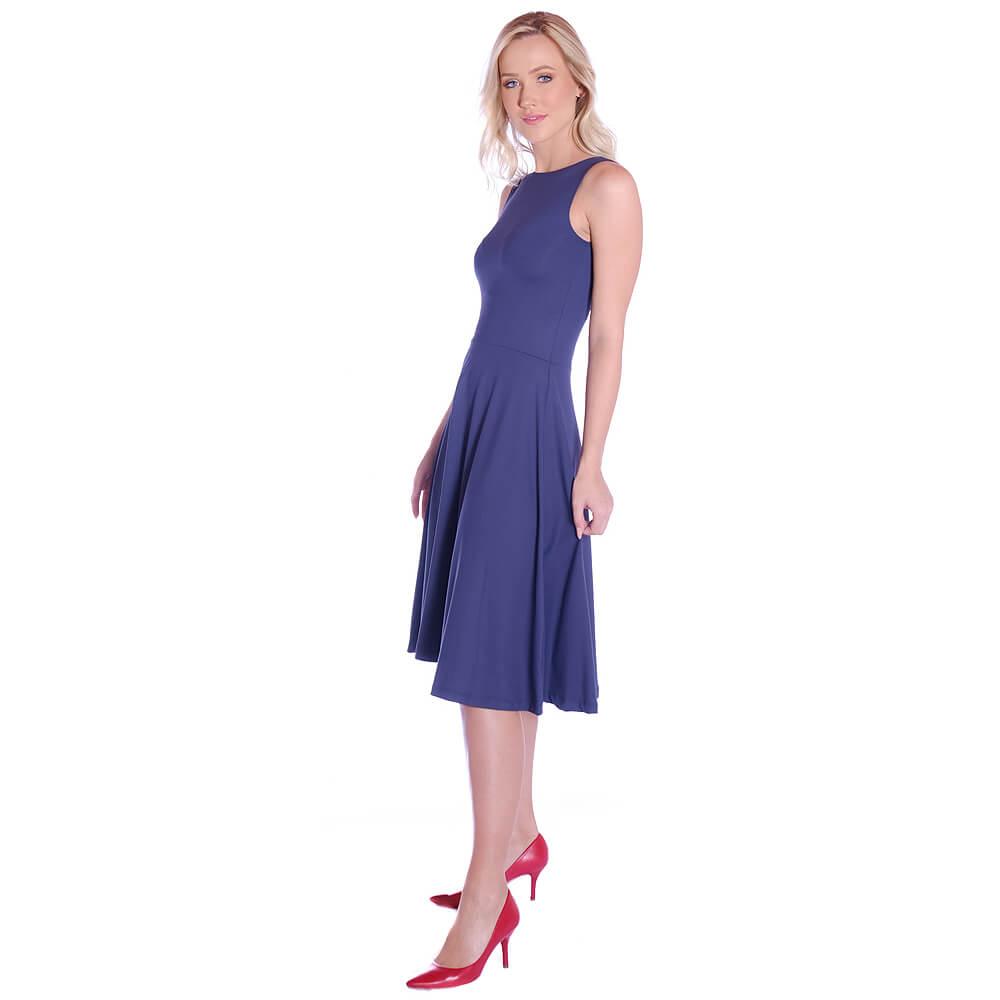 Vestido Azul Marinho FICALINDA Regata Decote Canoa