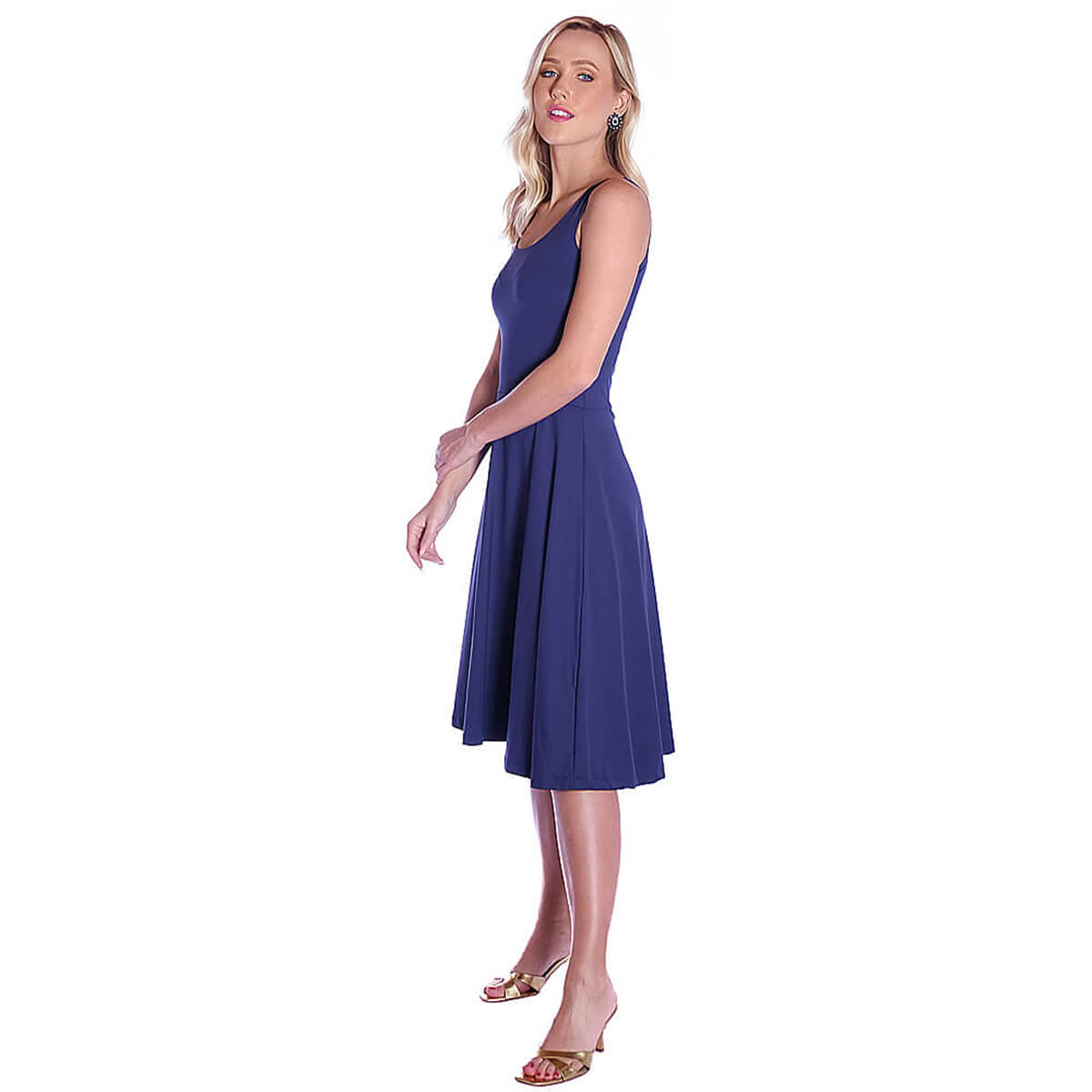 Vestido Azul Marinho FICALINDA Regata Decote Redondo