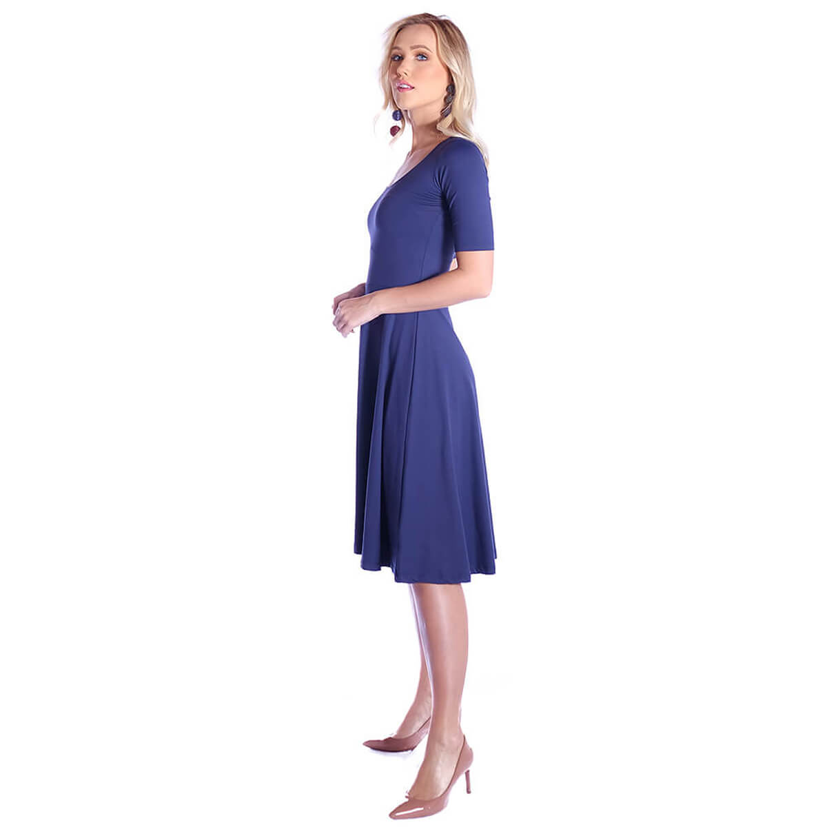Vestido Azul Marinho Meia Manga Decote Redondo
