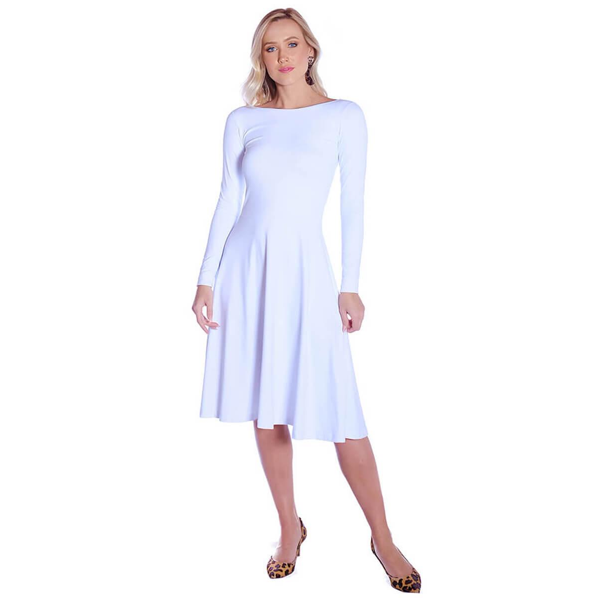 Vestido Branco FICALINDA Manga Longa Decote Canoa