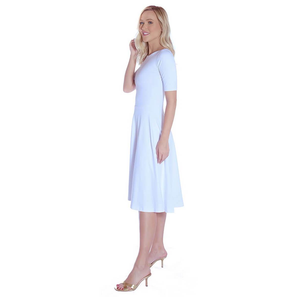 Vestido Branco FICALINDA Meia Manga Decote Canoa