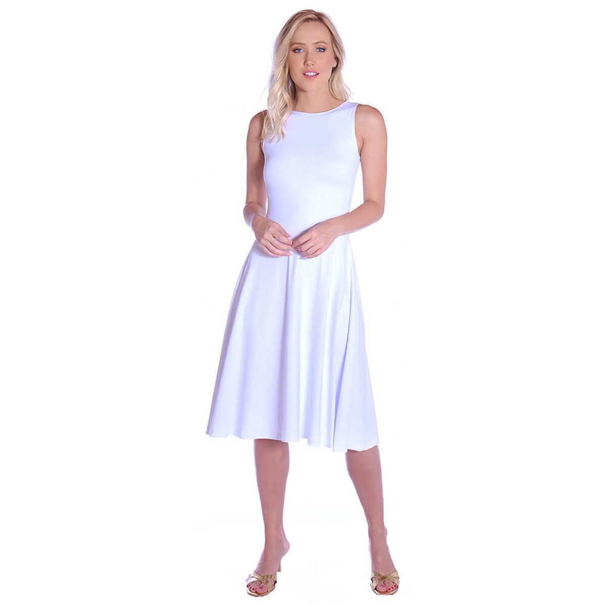Vestido Branco FICALINDA Regata Decote Canoa