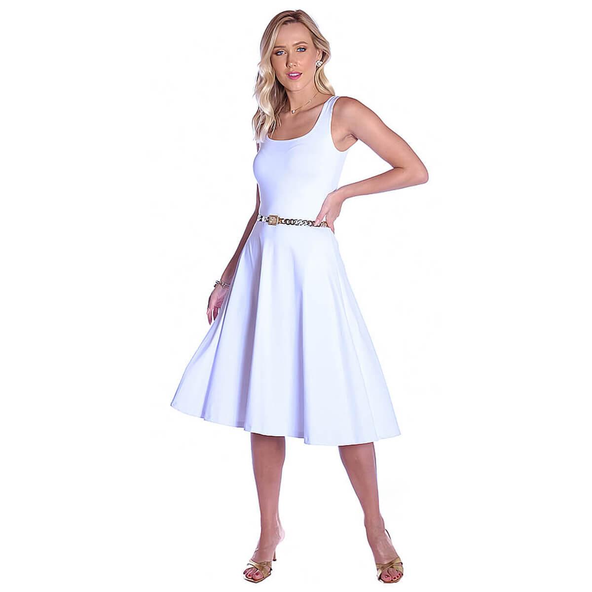 Vestido Branco FICALINDA Regata Decote Redondo