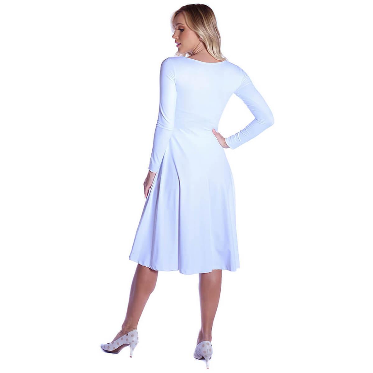 Vestido Branco Manga Longa Decote Redondo