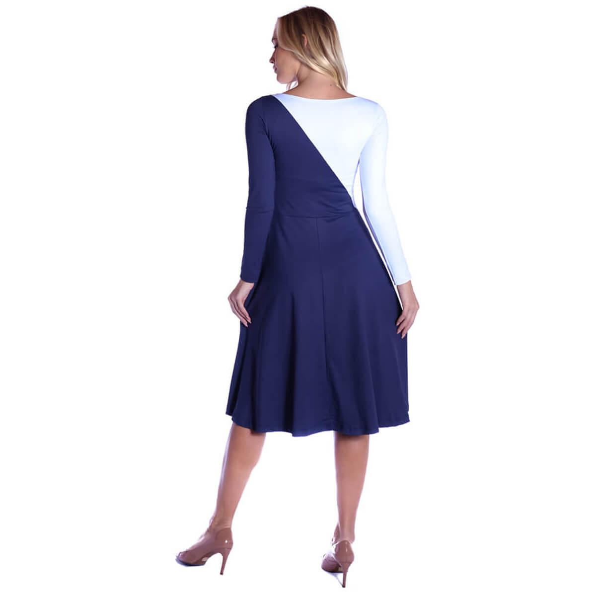 Vestido Duas Cores FICALINDA Azul Marinho e Branco Manga Longa Decote Canoa