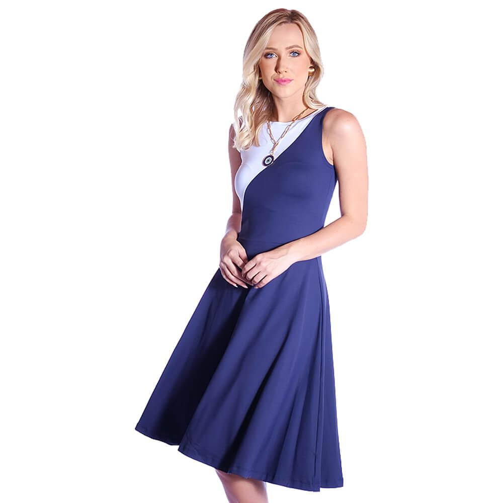 Vestido Duas Cores FICALINDA Azul Marinho e Branco Regata Decote Canoa