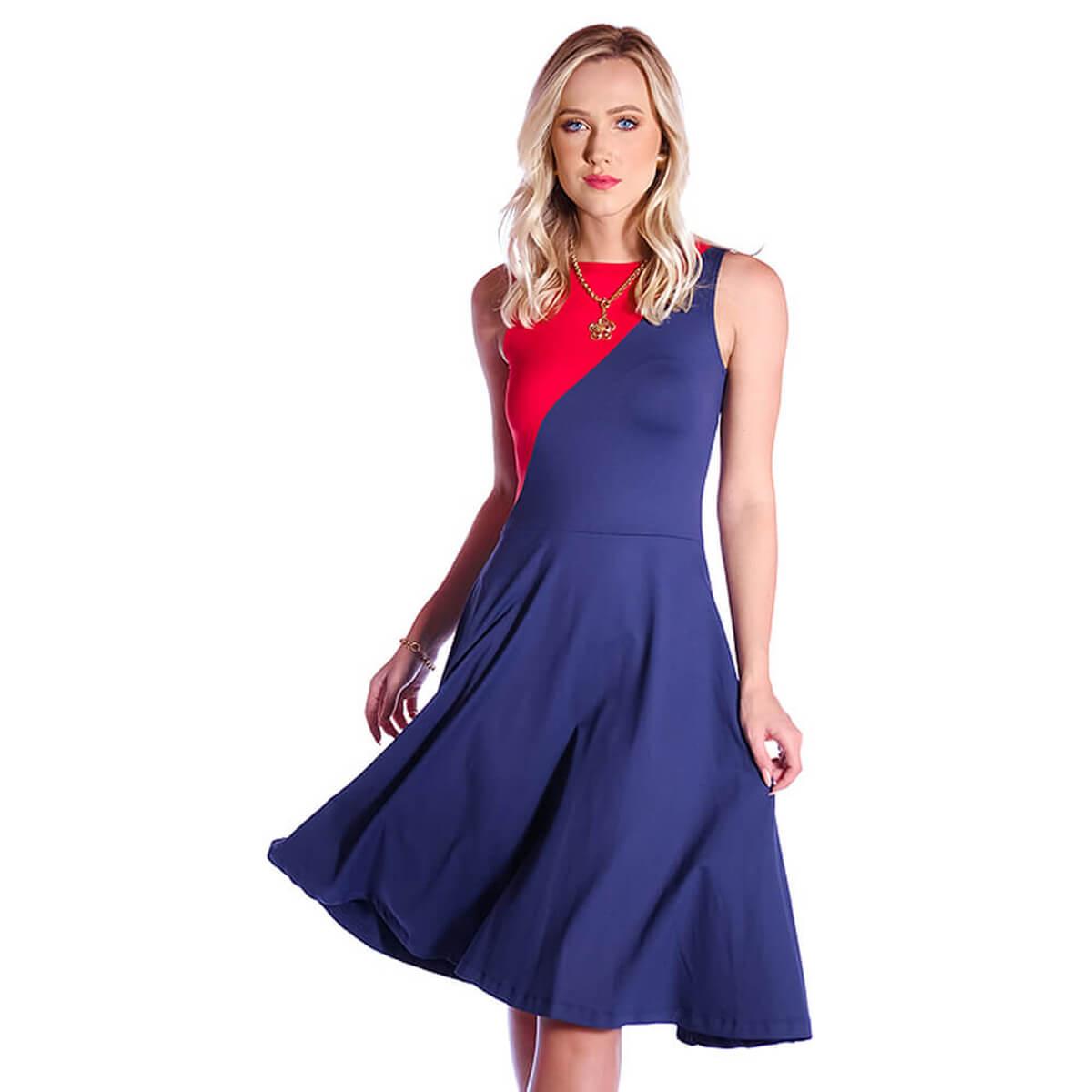 Vestido Duas Cores FICALINDA Azul Marinho e Vermelho Regata Decote Canoa