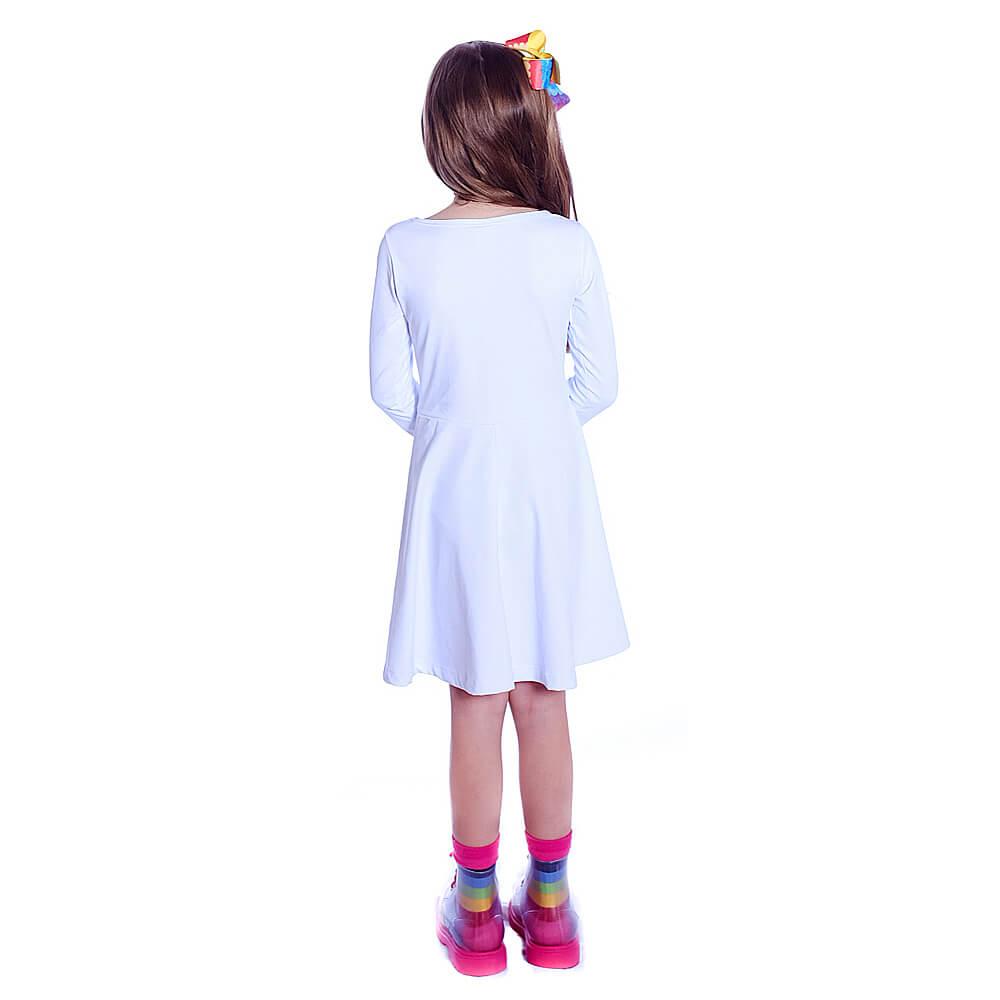 Vestido Infantil Branco Manga Longa Decote Canoa