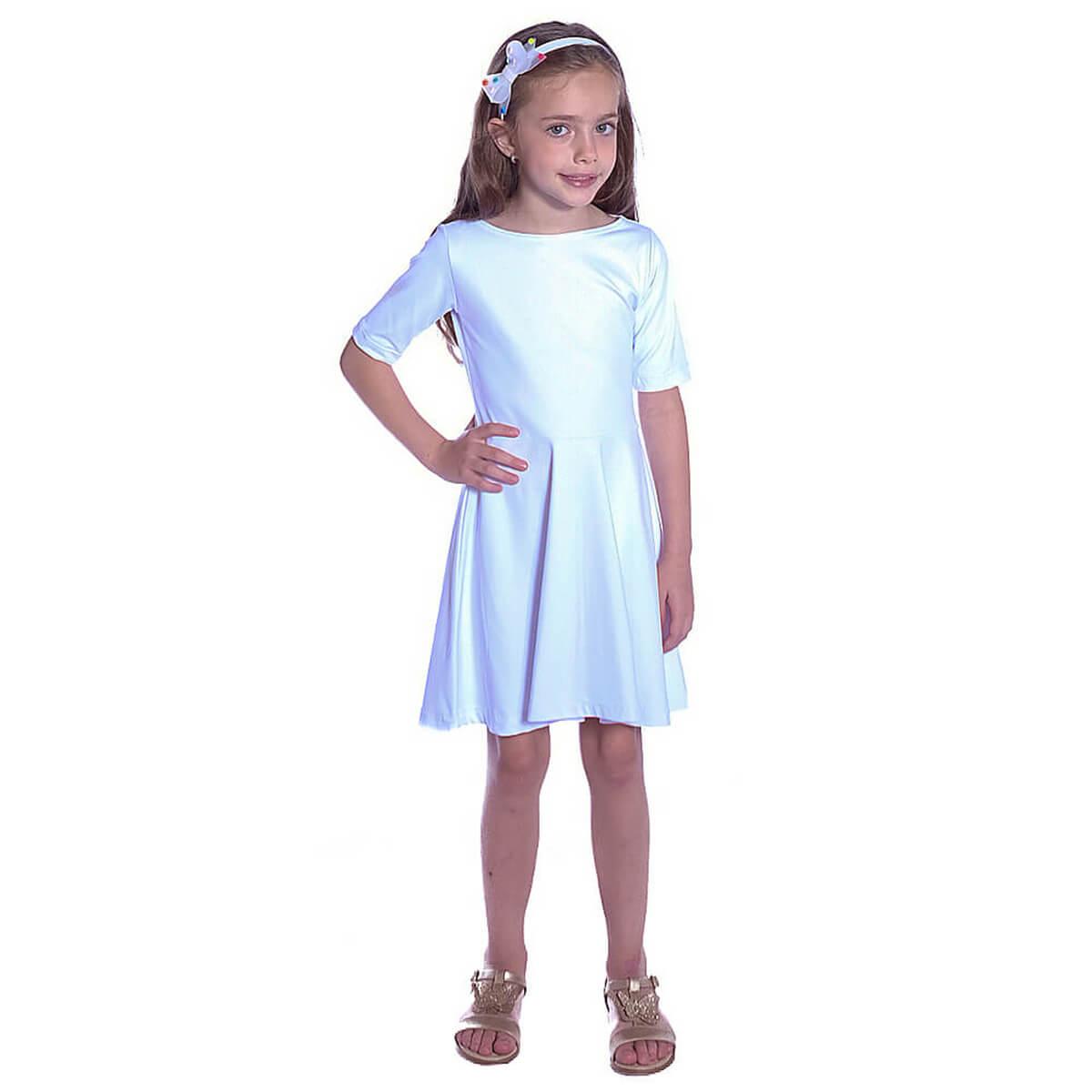 Vestido Infantil Branco Meia Manga Decote Canoa