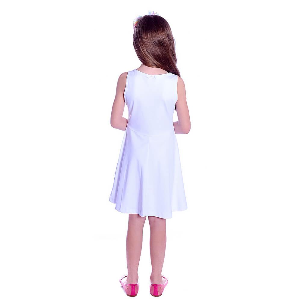 Vestido Infantil Branco Regata Decote Canoa