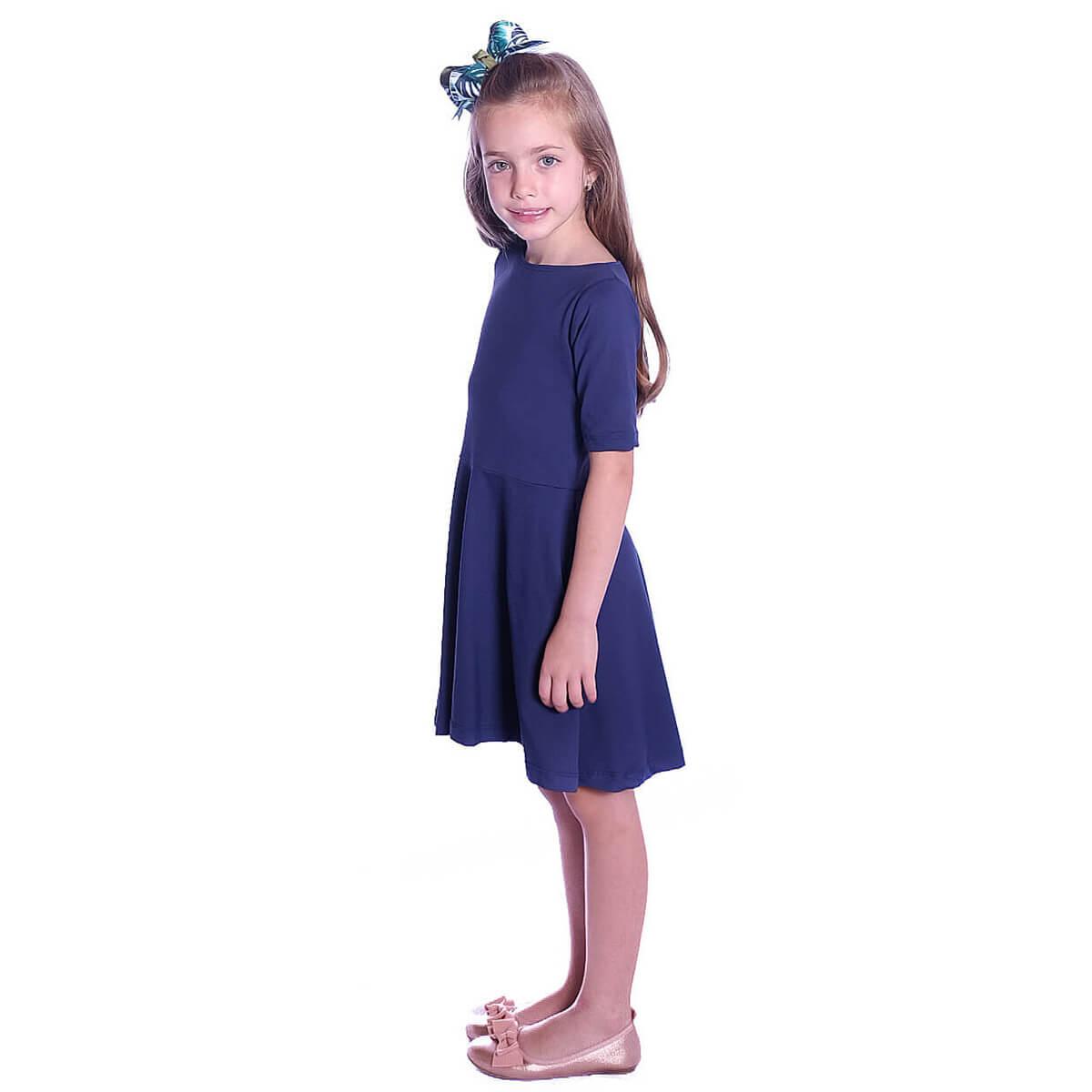 Vestido Infantil Manga Curta Azul Marinho Decote Canoa