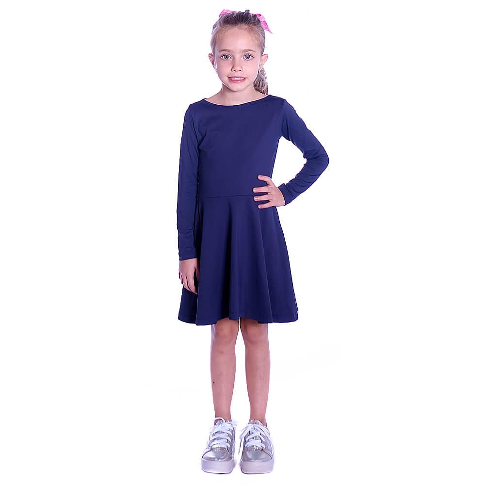Vestido Infantil Manga Longa Azul Marinho Decote Canoa