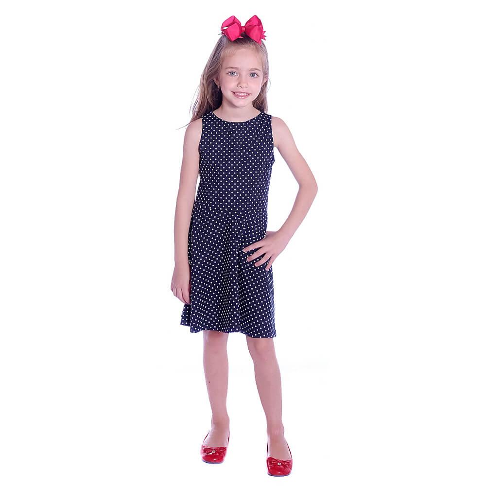 Vestido Infantil Poá Preto de Bolinhas Brancas Regata Decote Canoa