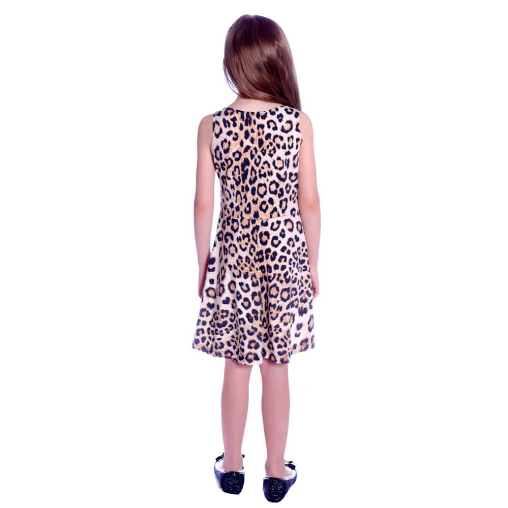 Vestido Infantil Regata Animal Print Onça Decote Canoa