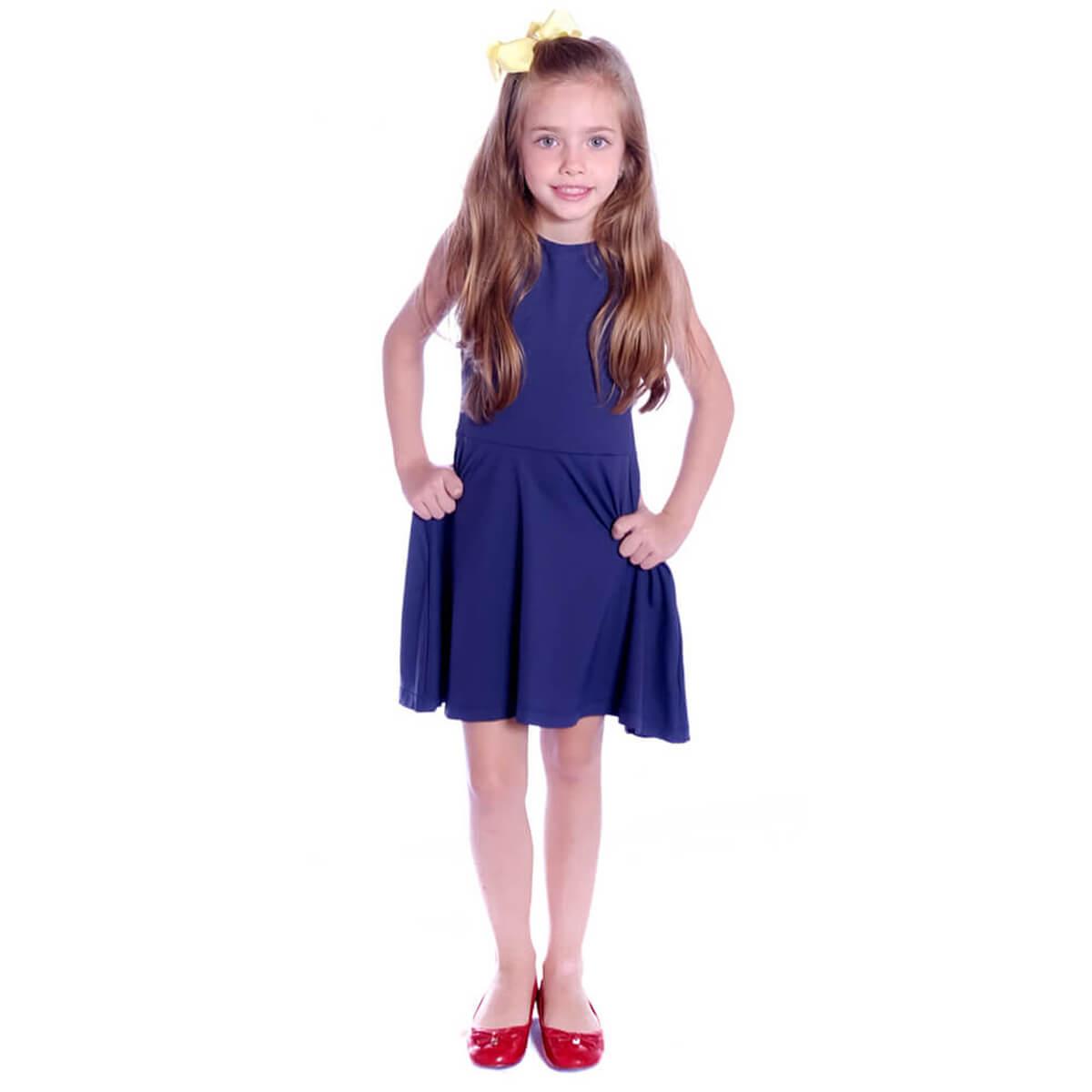 Vestido Infantil Regata Azul Marinho Decote Canoa