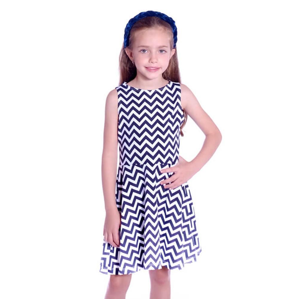 Vestido Infantil Regata Zig Zag Preto e Branco Decote Canoa