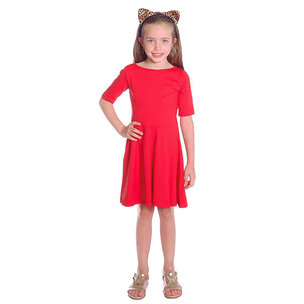 Vestido Infantil Vermelho Meia Manga Decote Canoa