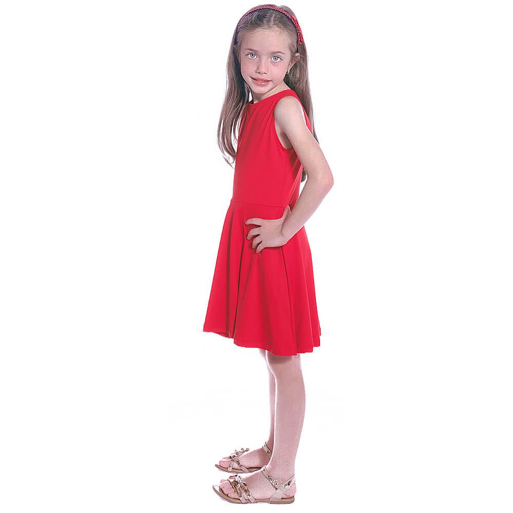 Vestido Infantil Vermelho Regata Decote Canoa