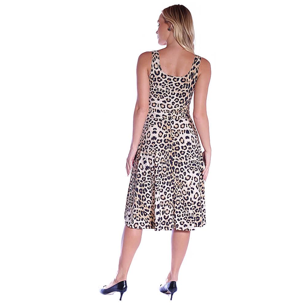 Vestido Midi Animal Print Onça FICALINDA Regata Decote Redondo