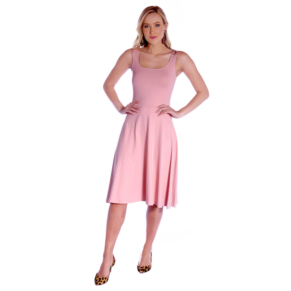 Vestido Regata FICALINDA Nude Decote Redondo