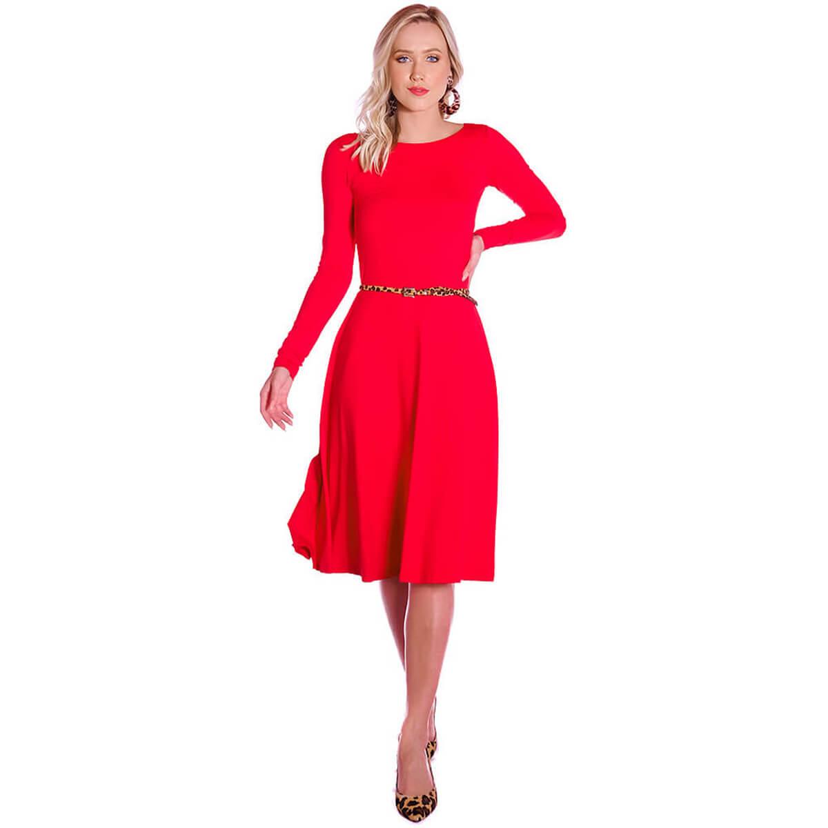 Vestido Vermelho FICALINDA Manga Longa Decote Canoa