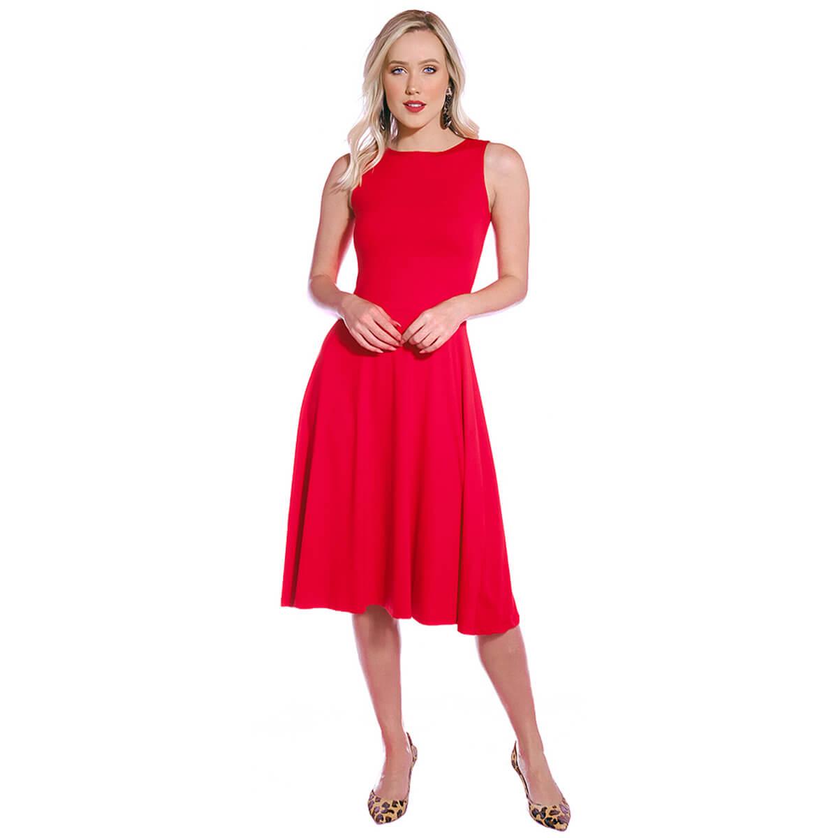 Vestido Vermelho FICALINDA Regata Decote Canoa