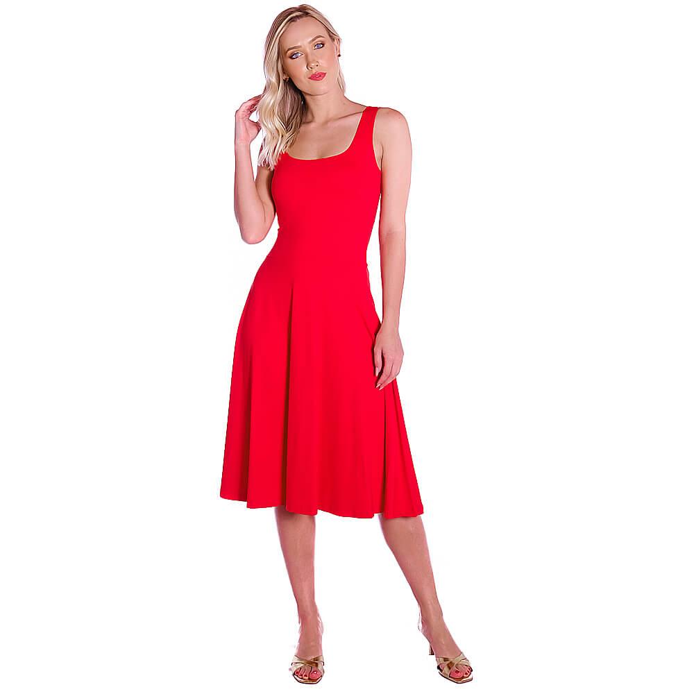 Vestido Vermelho FICALINDA Regata Decote Redondo