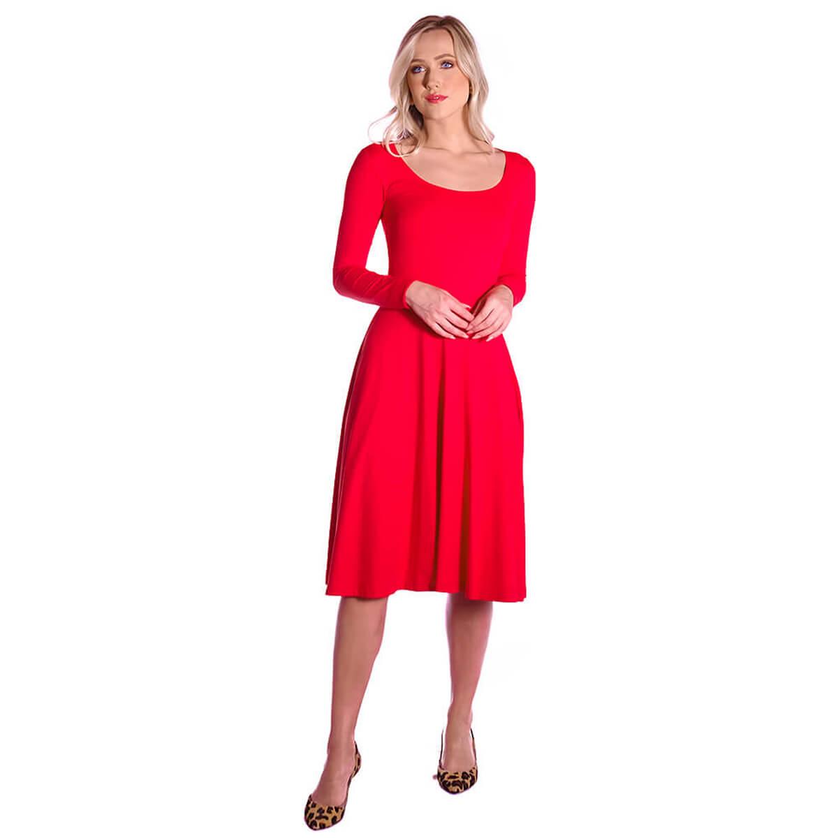 Vestido Vermelho Manga Longa Decote Redondo