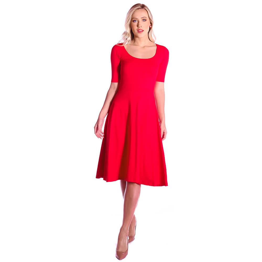 Vestido Vermelho Meia Manga Decote Redondo