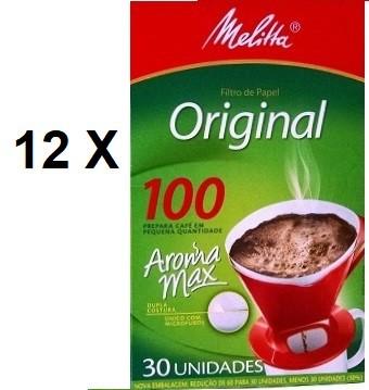 Kit 12 X Coador de papel Melitta nº 100 - 12 caixas c/ 30 unidades cada