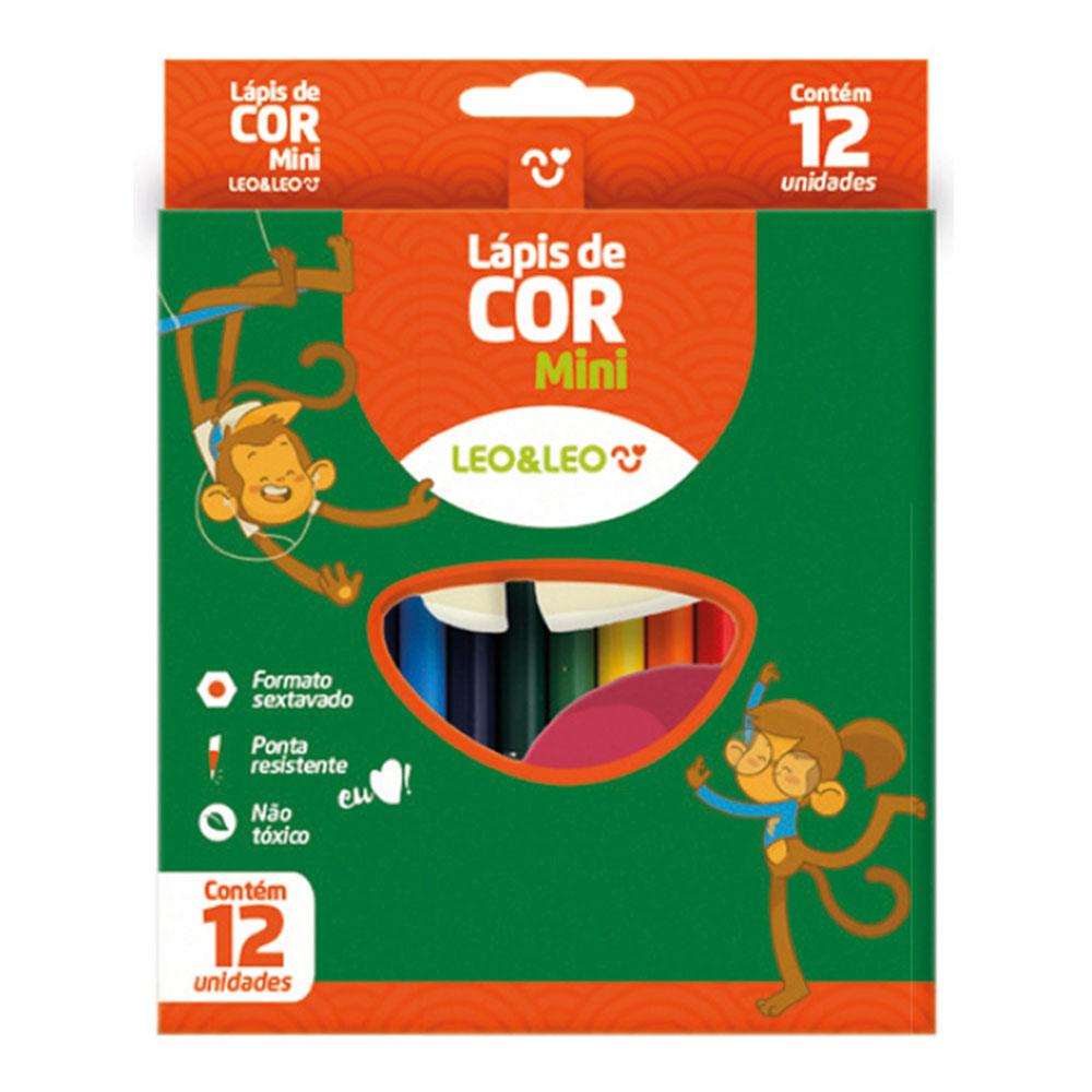 12 Estojos de Lápis de Cor Mini Sextavado 12 Cores Leo e Leo