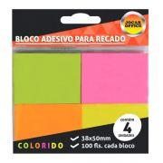 Bloco Adesivo 38x50mm Neon 4 Blocos c/ 100 Folhas Jocar Office