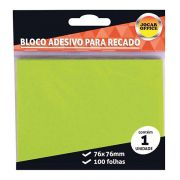 Bloco Adesivo 76x76mm Verde 100 Folhas Jocar Office