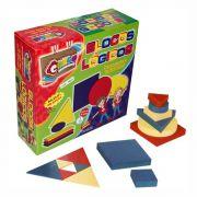 Blocos Lógicos em Madeira 48 Peças Brinquedo Educativo Carlu
