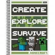 Caderno Universitário 1x1 CD 96 Folhas Minecraft 5 Foroni