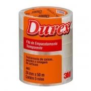 Fita Adesiva 24mm x 50m Transparente 5 Unidades Durex 3M