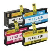 Kit Cartucho Compatível HP 711XL CZ130A CZ131A CZ132A CZ133A T120 T520